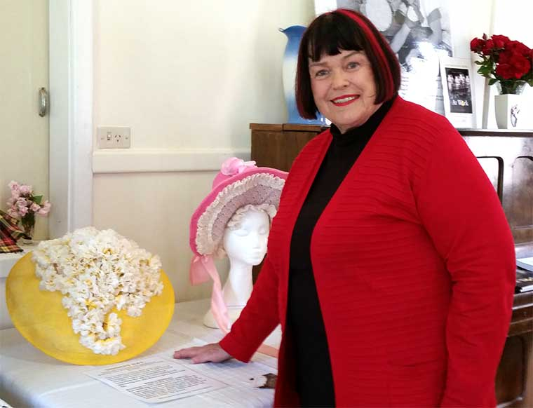 Mayor Anne Ferguson with a sinimay hat  she made in 2007 as a millinery student at TAFE