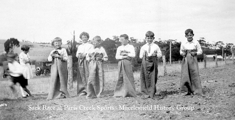 Sack race Paris Creek sports