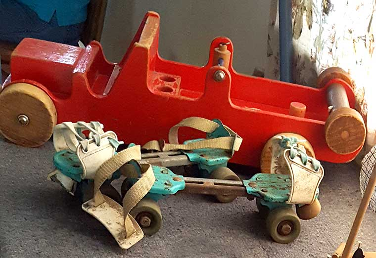 Toys - wooden car and skates