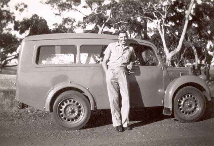 Peter Simmons with delivery van c1942